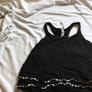 Black cropped top with stitching triangles